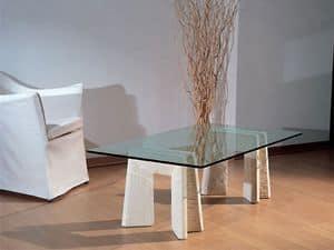 Riflesso, Tavolino con base in pietra per casa e ufficio