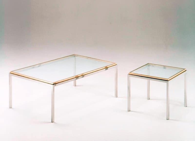 Tavolini squadrati in acciaio e ottone piano in vetro for Tavolini vetro