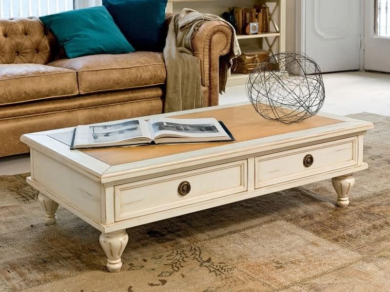 Tavolino basso in legno laccato piano in noce per hall - Tavolini da divano ...