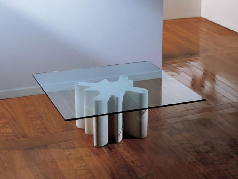 Splash, Tavolino da centro sala con base in pietra, piano in vetro