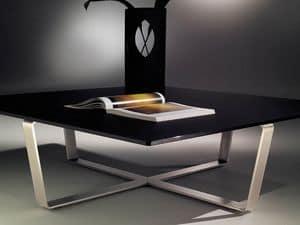 Sushi low table 2, Tavolino quadrato con base in acciaio a forma di croce
