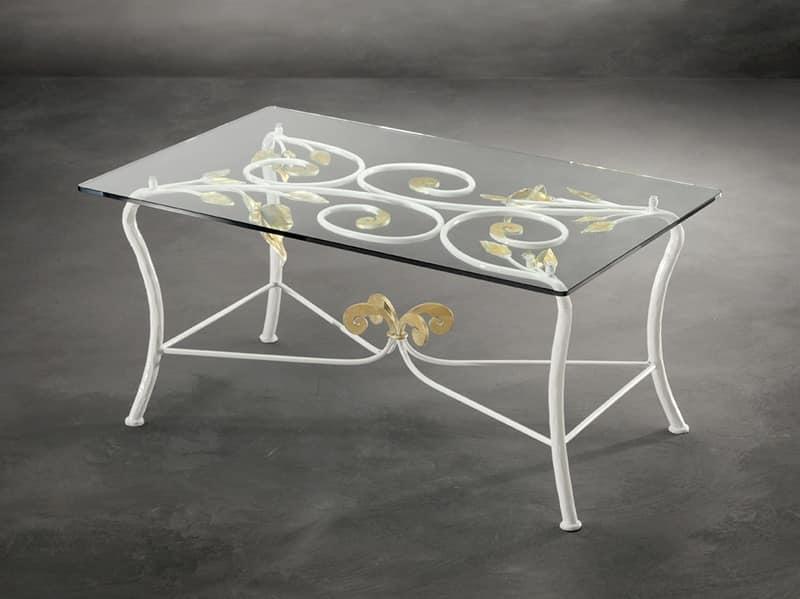Tavolino per centro sala in ferro battuto stile moderno for Tavolini in ferro battuto per esterni
