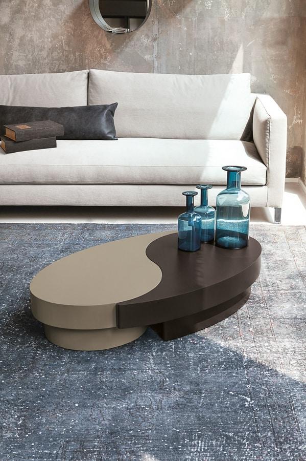 Salotto Ad Angolo Con Tavolino In Legno E Marmo Interior Design ...