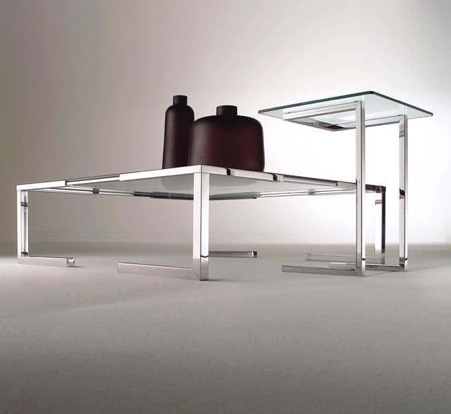 Tavolino per salotto moderno in acciaio cromato e vetro for Tavolini vetro