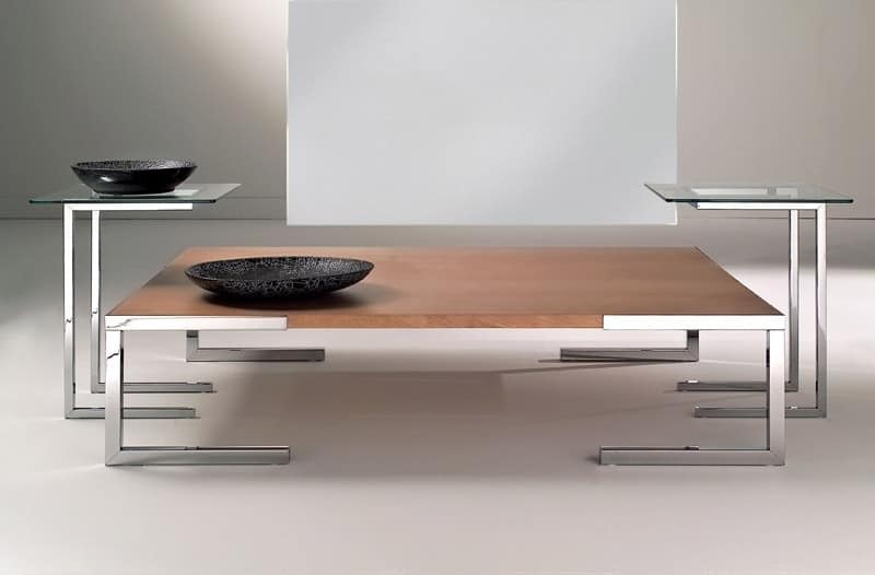 Tavolino per salotto moderno, in acciaio cromato e vetro  IDFdesign