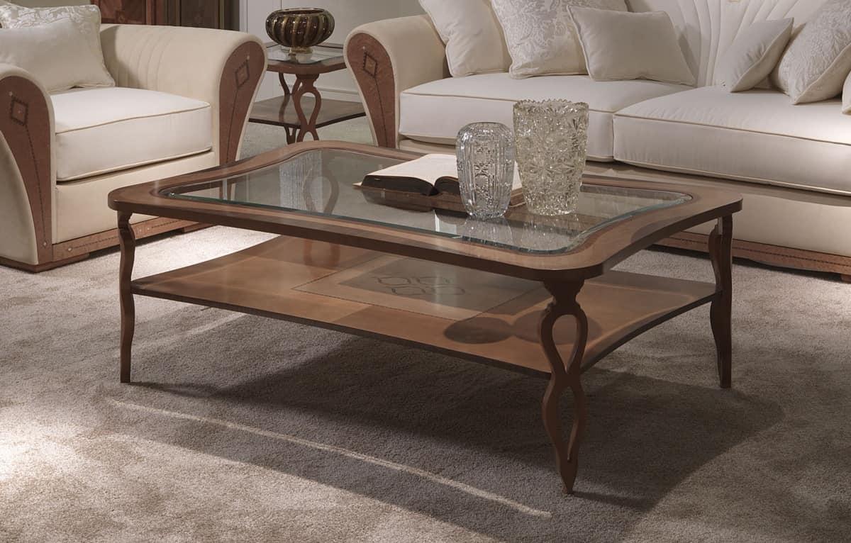 TL55 Charme tavolino, Tavolino rettangolare, in legno intarsiato, con ripiano