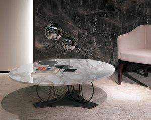TL59 Moon tavolino, Tavolino con piano tondo in marmo