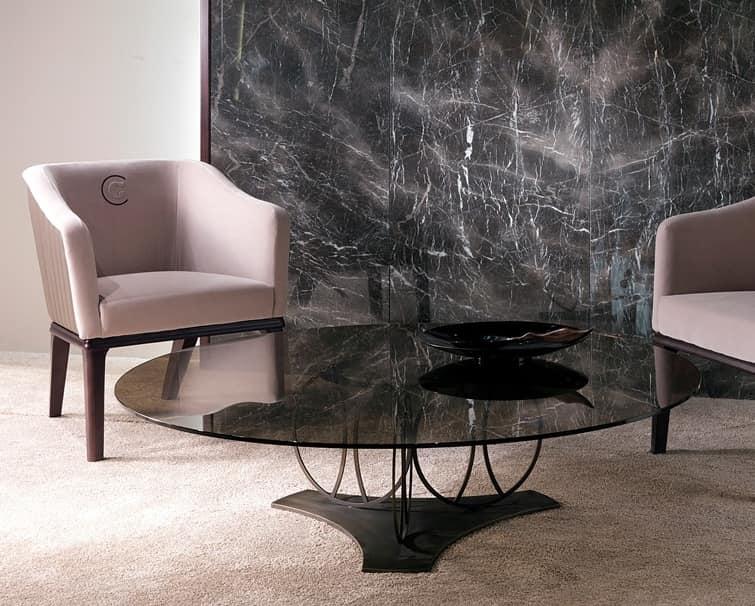 TL59B Moon tavolino, Tavolino con piano in vetro bronzato