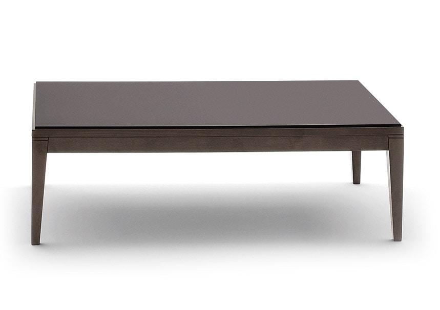 Tavolino rettangolare con struttura in faggio massiccio piano in