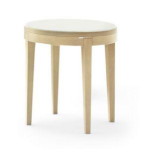 Toffee 883, Tavolino tondo con struttura in faggio massiccio, piano in vetro laccato temperato, per ambienti in stile moderno