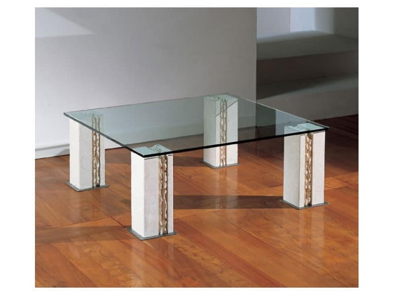 Tavolino con 4 gambe in pietra piano in vetro idfdesign for Glass tavoli cristallo
