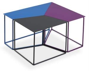Tris, Tavolino interamente in metallo, divisibile in 3 parti