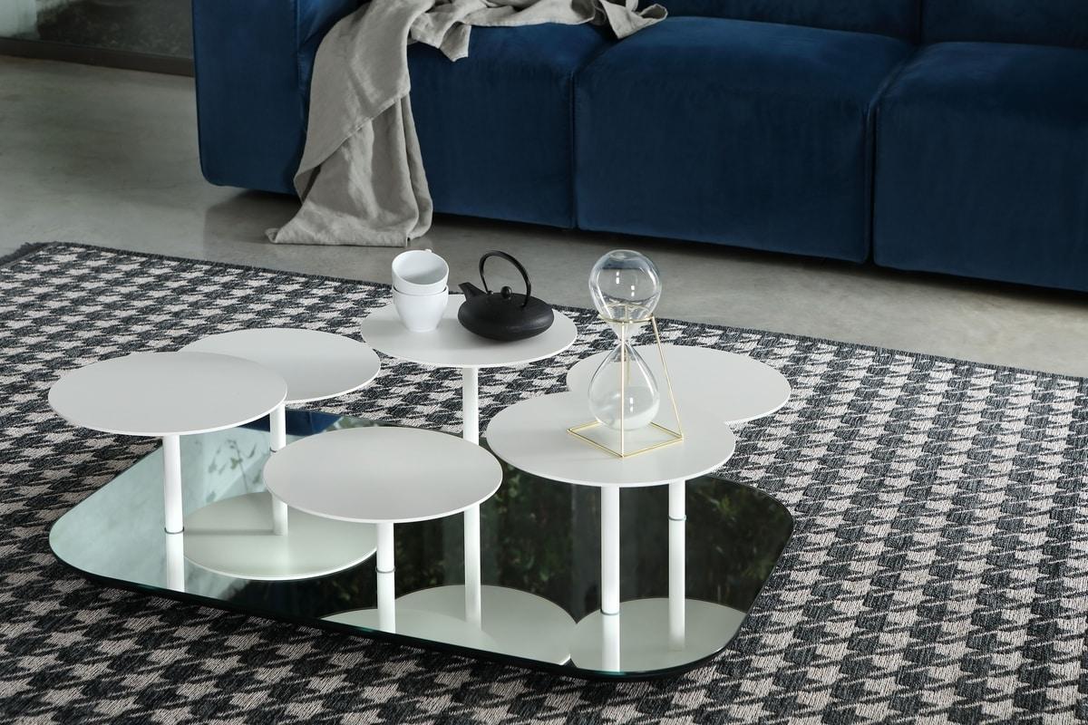 VALENTINE, Tavolino con base a specchio e ripiani in metallo