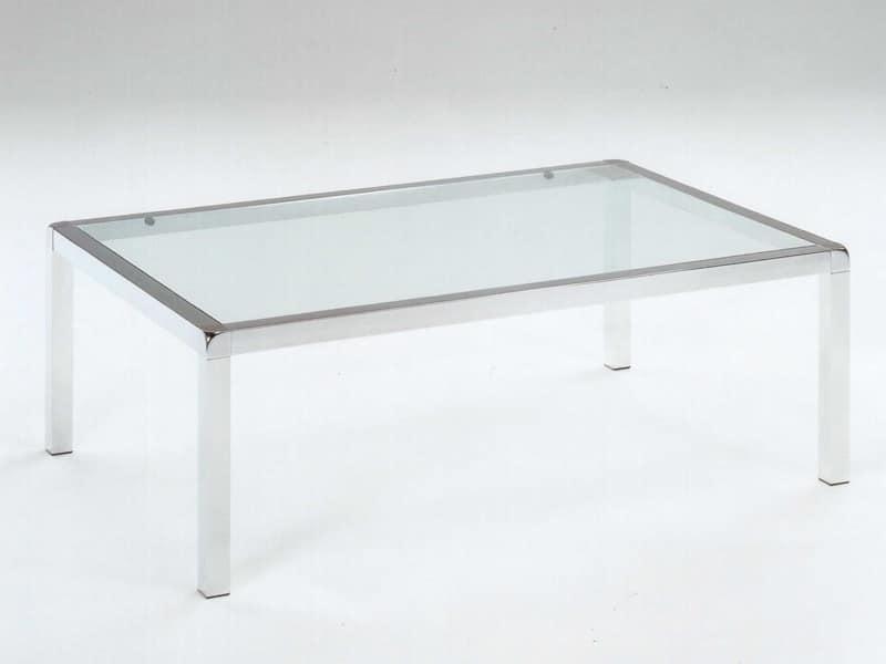 Tavolino in acciaio inox lucido piano in vetro temperato idfdesign