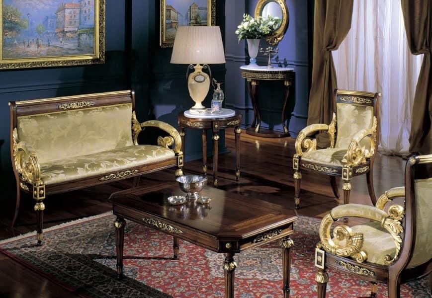 2715 TAVOLINO LUIGI XVI ROTONDO, Tavolino rotondo classico, piano in marmo di Carrara