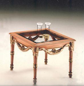 2760 TAVOLINO QUADRATO, Tavolino con piano in cristallo, prezzo outlet