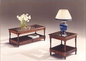 2980 TAVOLINI, Tavolini in legno con piano in vetro, stile classico