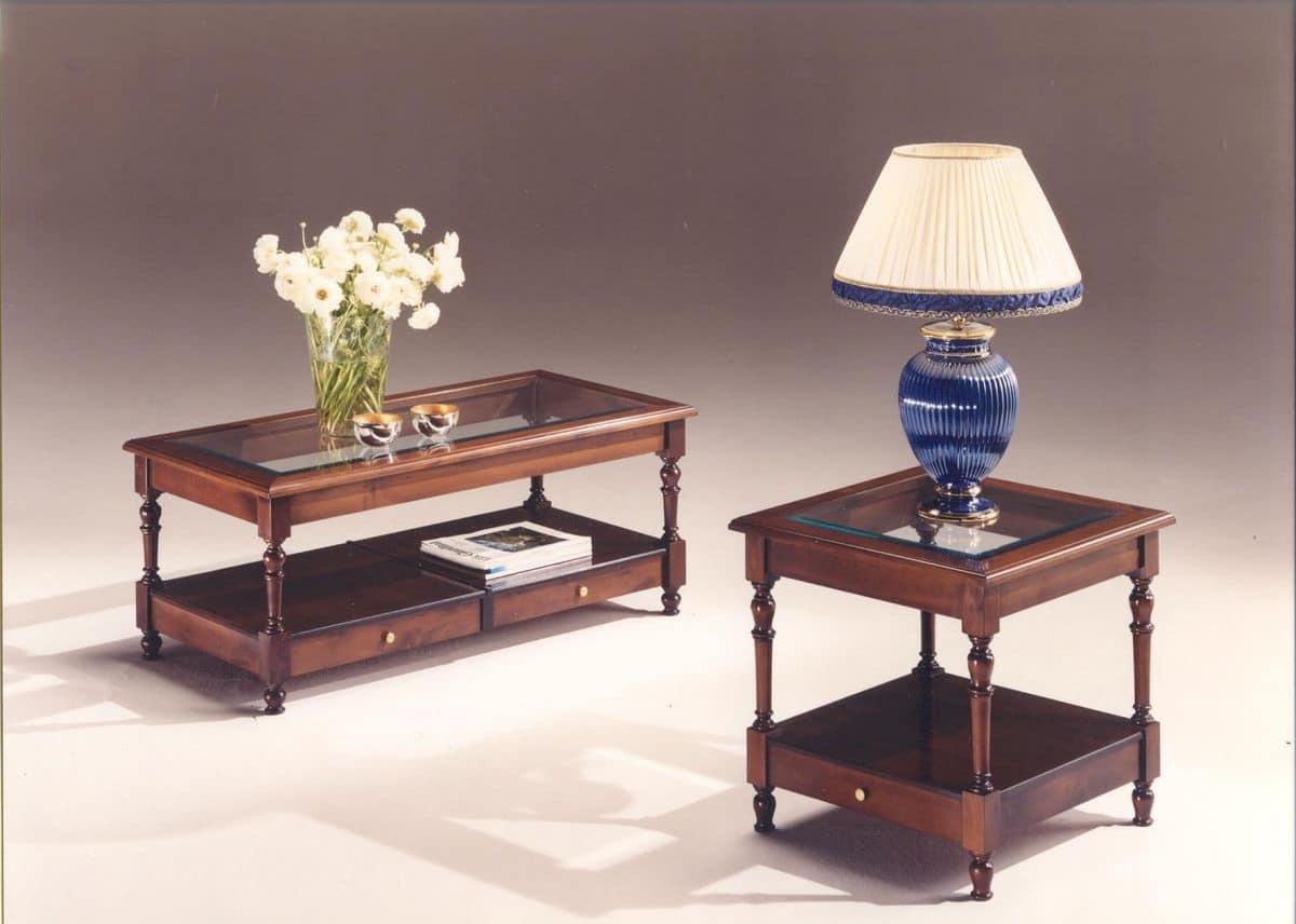Tavolini in legno con piano in vetro stile classico for Tavolini in legno e vetro