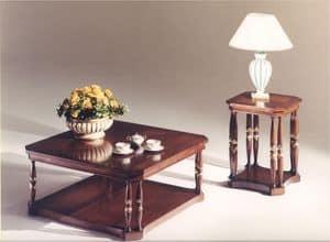 3035 TAVOLINI, Tavolino quadrato in legno per salotti in stile classico
