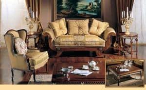 3285 TAVOLINO ROTONDO, Tavolino intagliato a mano, per salotti classici di lusso