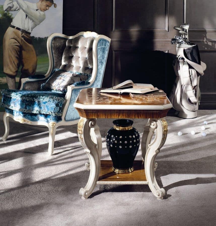 Tavolino quadrato classico di lusso per salotto  IDFdesign