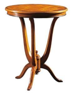 Adriano FA.0113, Tavolino Dec�, con piano rotondo in legno intarsiato