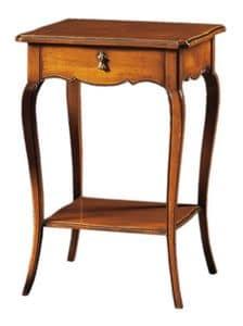 Anselmo FA.0141, Tavolino classico in legno con 2 ripiani e 1 cassetto