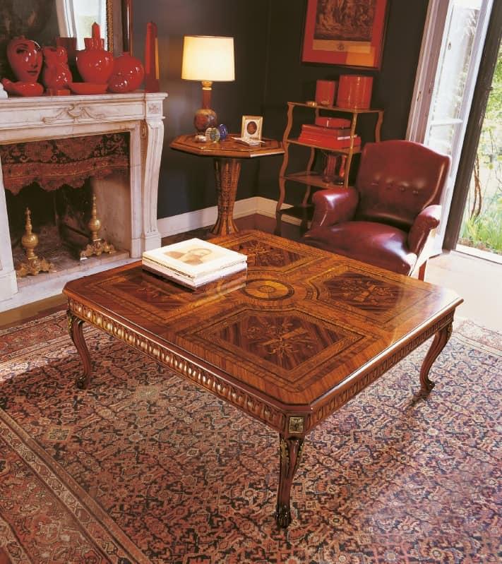 tavolo decorato a mano intarsiato a mano design classico