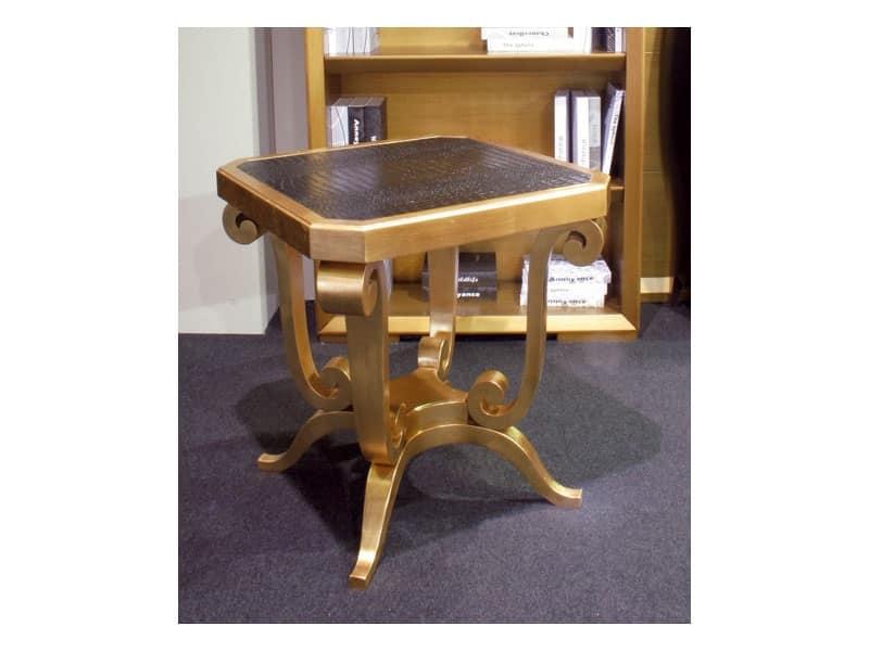 Art. 1380, Tavolino in legno, piano in eco-pelle, per hall