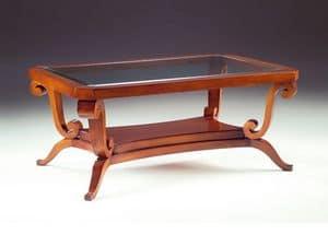 Art. 1385 Arca, Tavolino basso, in legno, piano in cristallo, per albergo