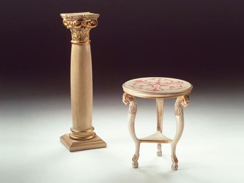 Art. 1460 Rams, Tavolino rotondo in legno, classico, per zona giorno