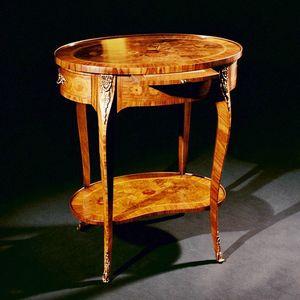 Art. 174 Fiori, Tavolino con piano ovale, intarsiato