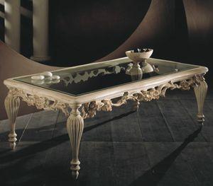 Art. 20517, Tavolino intagliato, con piano in vetro