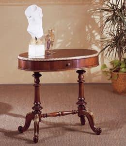 Art. 208, Tavolino intagliato a mano, piano ovale, per hotel di lusso