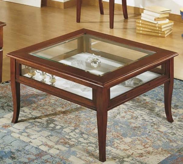 Tavolino per centro sala con vetrina in stile classico for Tavolino con vetrina