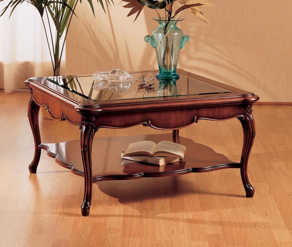 Tavolino con gambe lavorate adatto per zona conversazione - Tavolini vetro e ottone ...