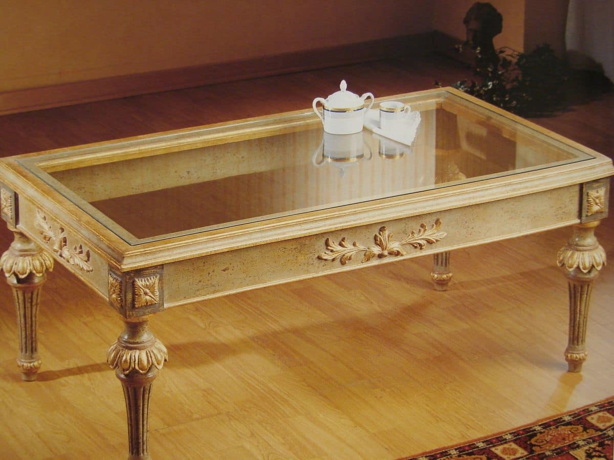 Tavolino rettangolare per salotto, tavolino classico per ...