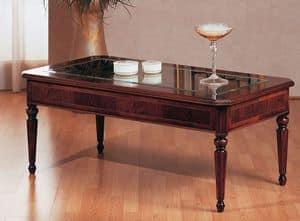 Art. 229, Tavolino classico di lusso, piano in vetro, per Villa