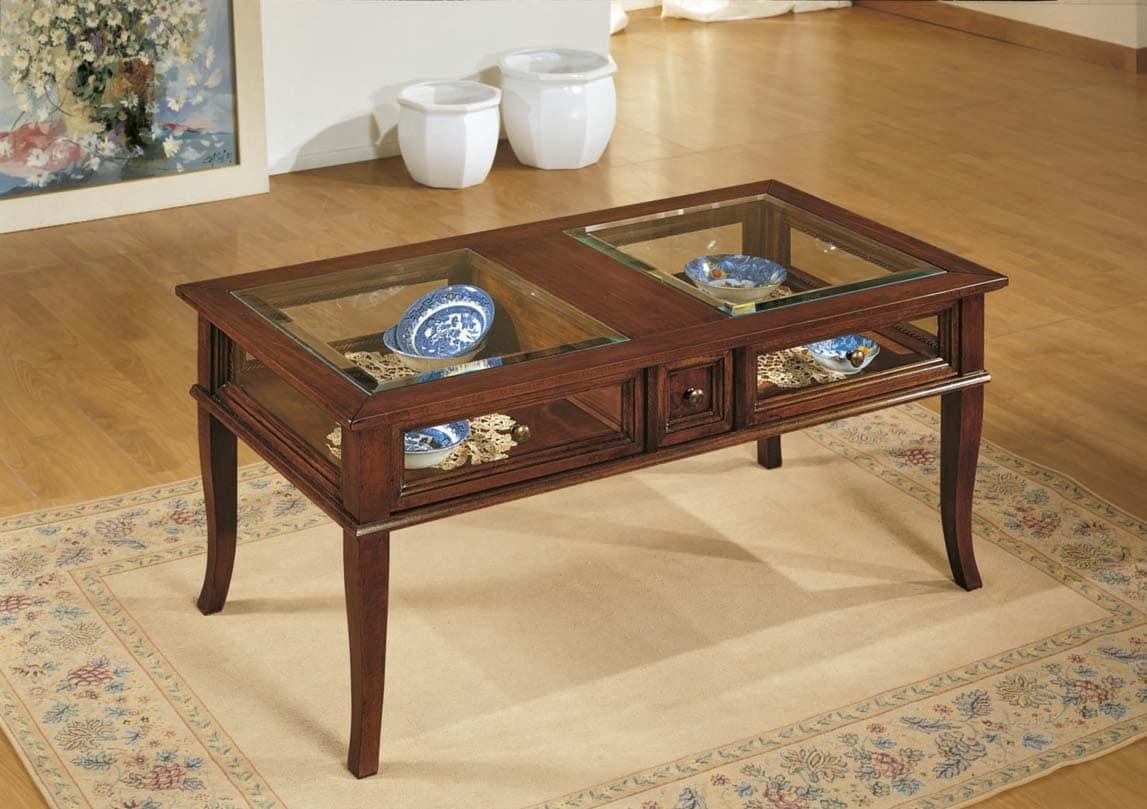 Tavolino classico con cassetto centrale e vetrina idfdesign for Tavolino con vetrina