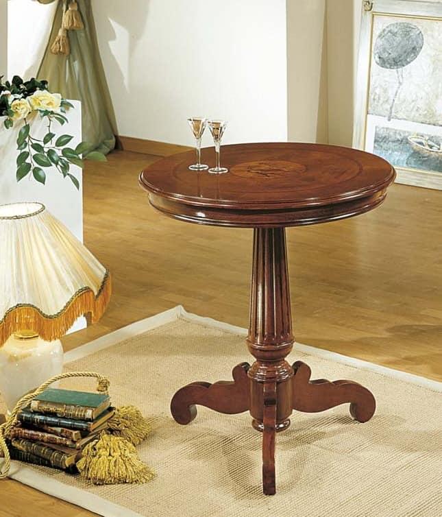 Tavolino rotondo classico con piano intarsio regina for Tavolini da salotto rotondi