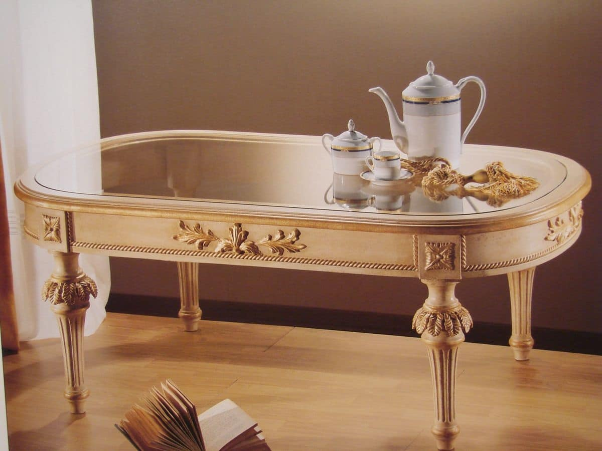 Tavolino ovale per salotti classici piano in vetro for Tavolini vetro