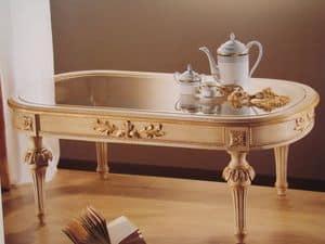 Art. 2803, Tavolino ovale per salotti classici, piano in vetro