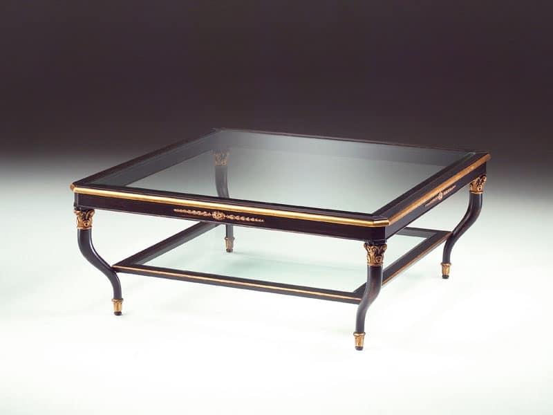 Art. 301/Q Mida, Tavolino in legno, piano in cristallo, per salotto