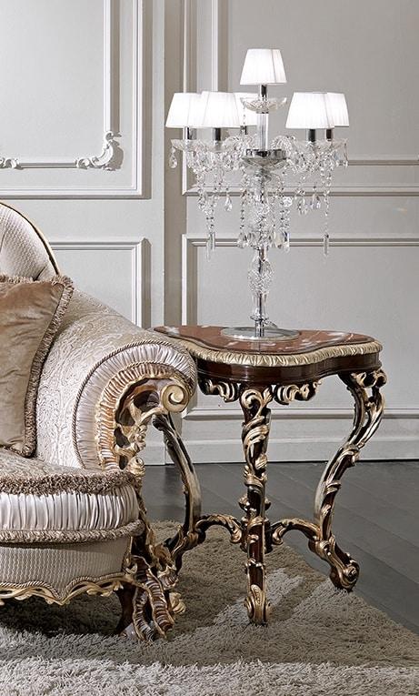 ART. 3013, Tavolino classico con piano in marmo rosa