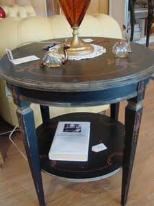 Art. 319, Tavolino rotondo, con 2 piani, per salotto classico