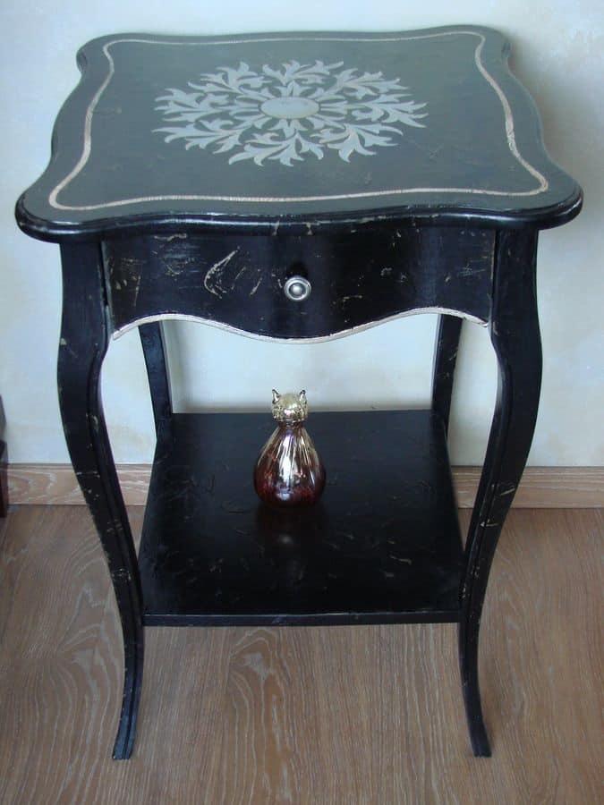 Art. 361, Tavolino quadrato per salotti di lusso, top decorato