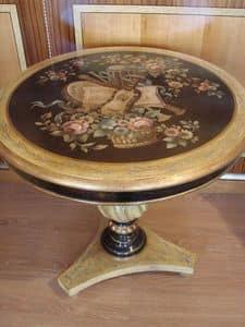 Art. 713, Tavolino rotondo classico, colonna tornita, per la casa