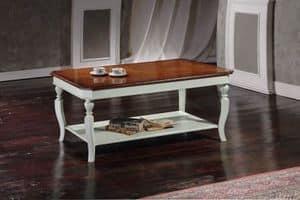 Art. 813 TAVOLINO RETTANGOLARE, Tavolino rettangolare con gambe intagliate