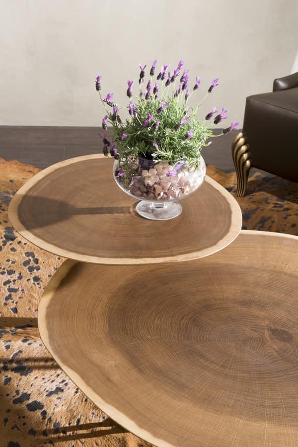 Tavolino da centro sala 2 piani in rovere base in ottone for Piani di gabinetto artigiano