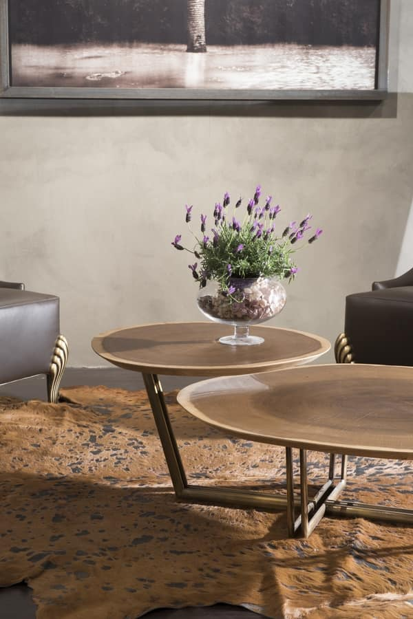 Tavolino da centro sala 2 piani in rovere base in ottone for Sala di piani quadrati a chiocciola